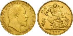 Half gold sovereign Edward VII gold coin
