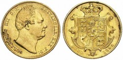 Gold sovereign William IV Crowned arms gold coin